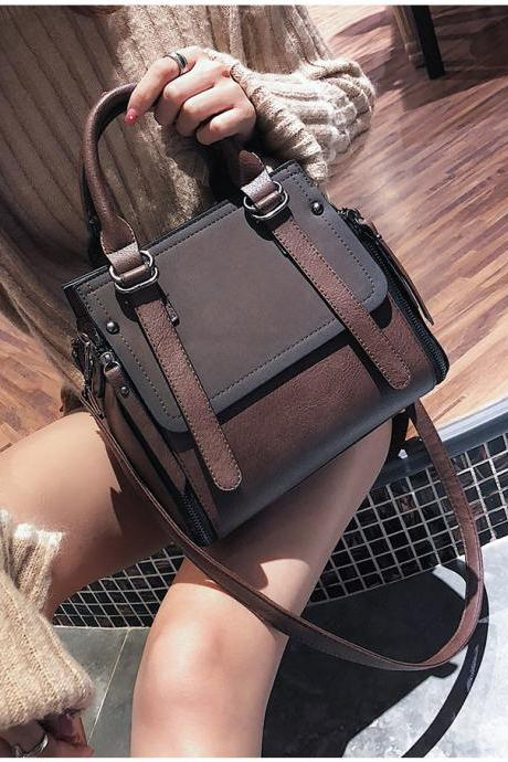 Matte PU Leather Portable Shoulder Bag Tote Bag
