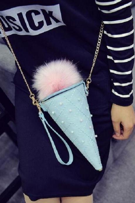 Cute Ice Cream Cone Shape Chain Shoulder Bag Crossbody Bag