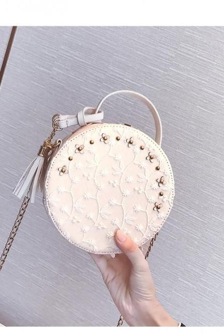Gorgeous Round Shoulder Bag with Lace Detail