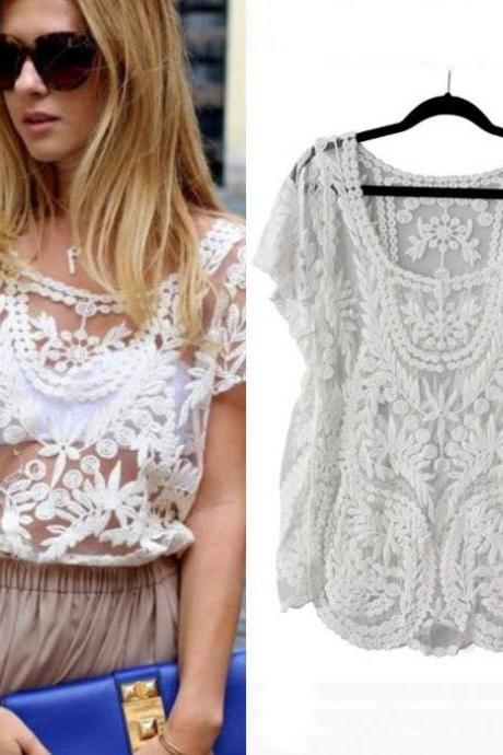 Summer Lace Short Sleeve Blouse