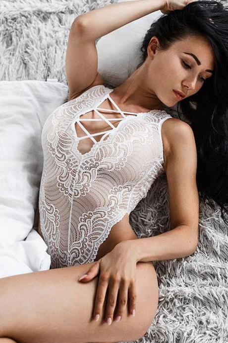 White Sexy Lace Cross Back Sleeveless Body suit Lingerie Romper