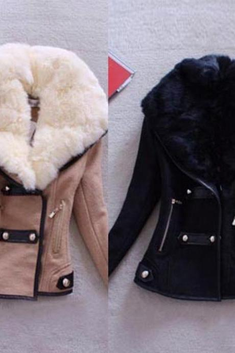 Faux Fur Collar Double Breasted Winter Coat