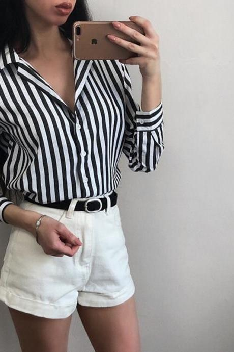 Chic Stripe Long Sleeve Top