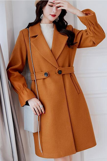 Casual Long Sleeve Turn Down Collar Wool Blend Winter Coat