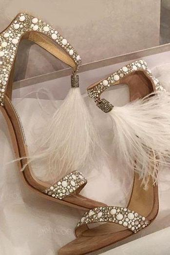 Gorgeous Tassel Ankle Strap High Heels Wedding Party Fashion Sandals