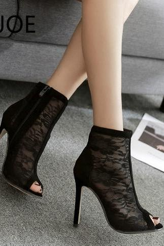 Sexy Black Lace High Heels Peep Toe Fashion Sandals