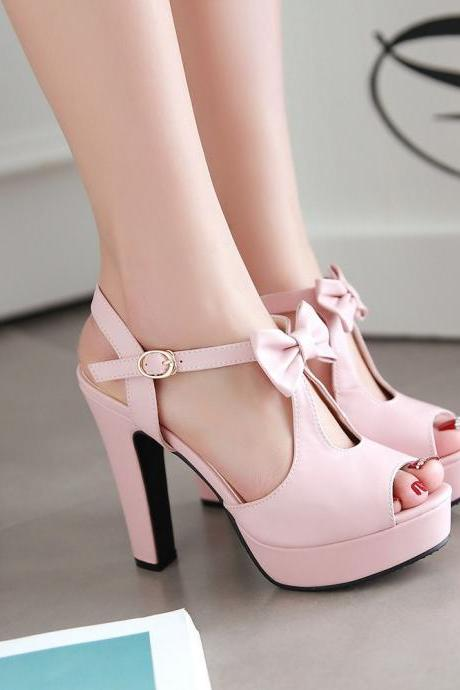 Beautiful Bowknot Ankle Strap High Heels Sandals