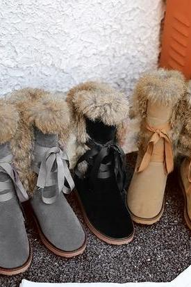 WarmLace up Faux Fur Tall WInter Boots