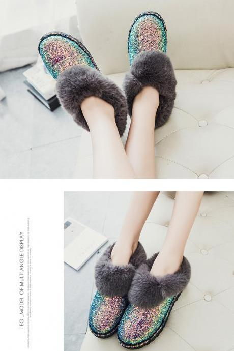 Beautiful Sequins Faux Fur Warm Winter Boots