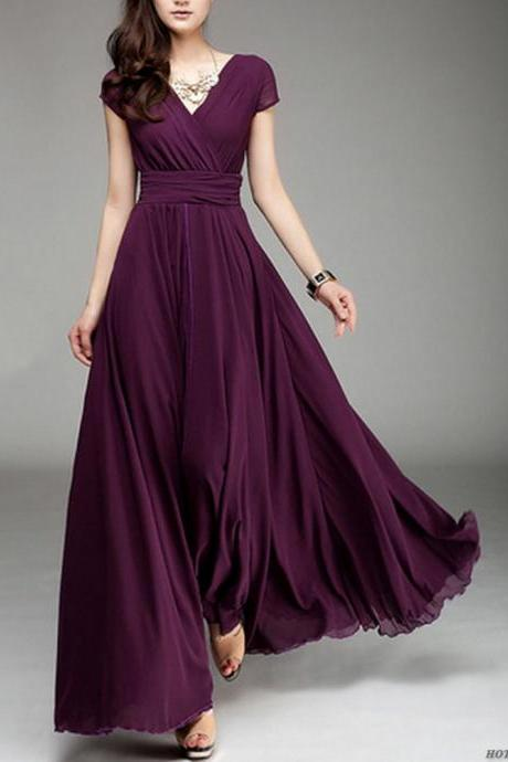 Short Sleeve Sexy V Neck Long Dress
