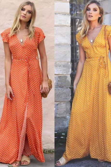 Women Polka Dot Long Maxi Dress