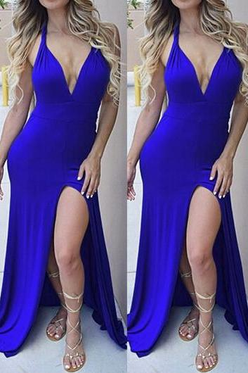 Blue Cross Back Maxi Dress