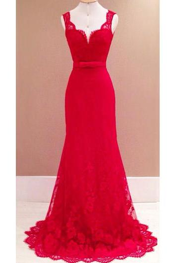 Open Back Red Lace Dress