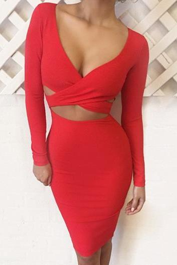 Sexy Red Cut Out Design Dress