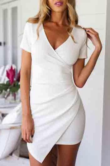 White V Neck Assymmetrical Hem Dress