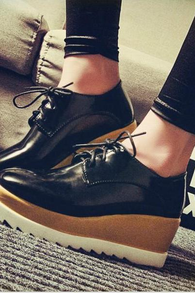 Black Lace up Platform Shoes