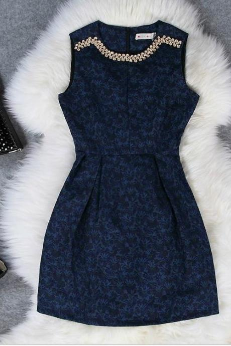 Elegant Blue Beaded Dress
