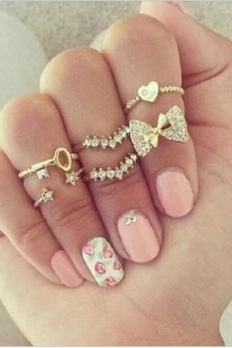 6 Pieces Set Adorable Stack Rings