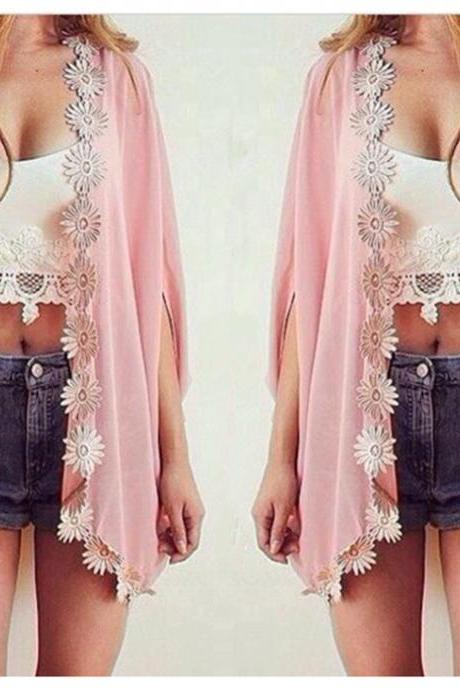 Pink Kimono with Lace Detail