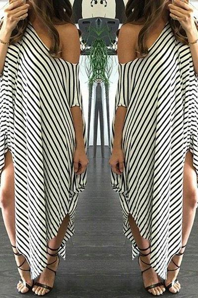 Black and White Asymmetrical Hem Dress