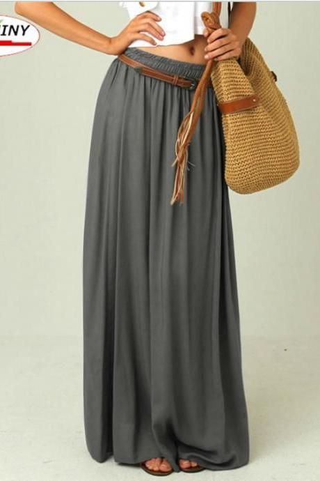 Grey Pleated Chiffon Maxi Skirt