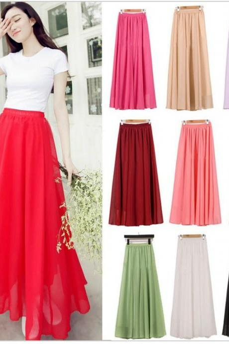 Beautiful Candy Colored Chiffon Long Skirts