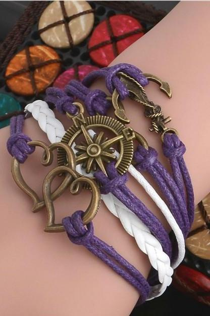 Purple Anchor and Heart Charmed Bracelet