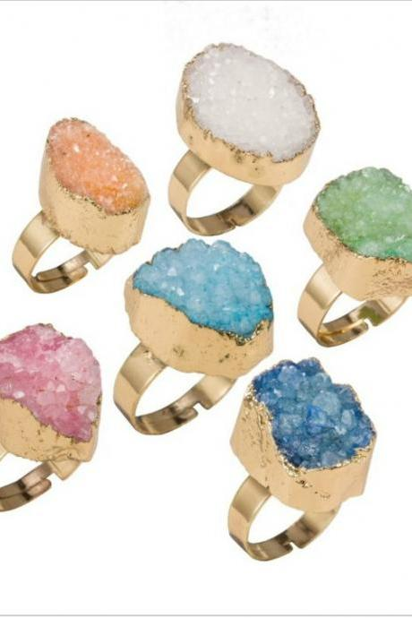 Natural Stone Druzy Rings
