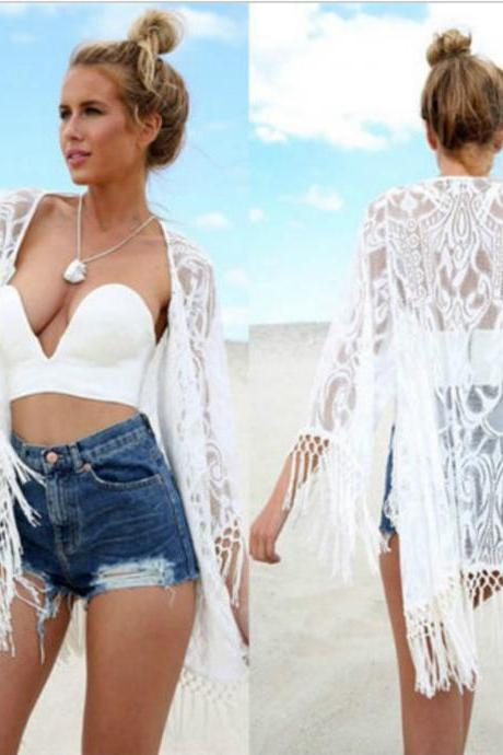 Women Lace Long Tassel Bikini Swimwear Cover Up Beach Dress