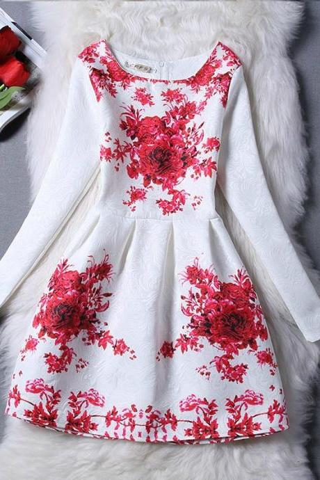 Classy Red Floral Vintage Design Long Sleeve Dress