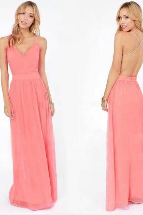 Pink Cross Strap Chiffon Dress