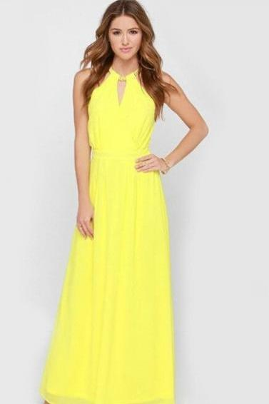 Elegant Yellow Chiffon Maxi Dress
