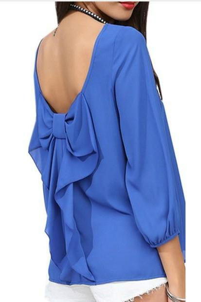 Soild Color Chiffon Women Blouses