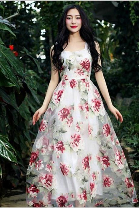Elegant Floral Organza Dress