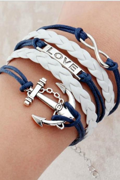 Blue and White Anchor Charmed Bracelet