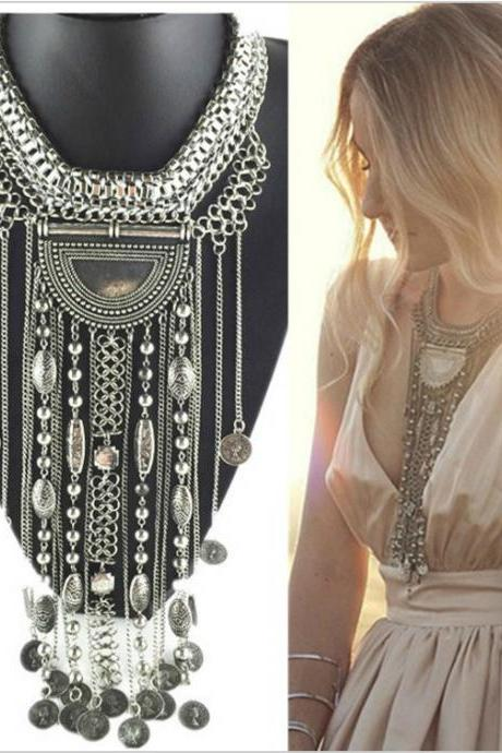 Silver Bohemian Fringe Statement Necklace with Cascading Fringe