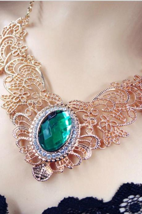 Green Gem Vintage Inspired Statement Necklace