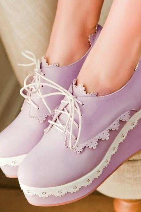 Lace up Wedge Platform Shoes