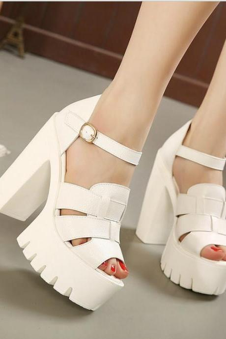 Chunky Heel Platform Sandals in Black and White