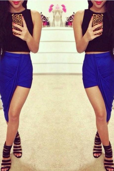 Blue Irregular Hem Skirt