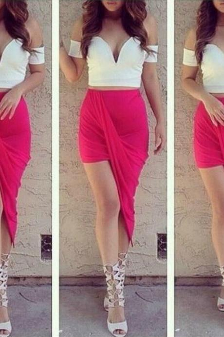 Rose Red Irregular Hem Skirt
