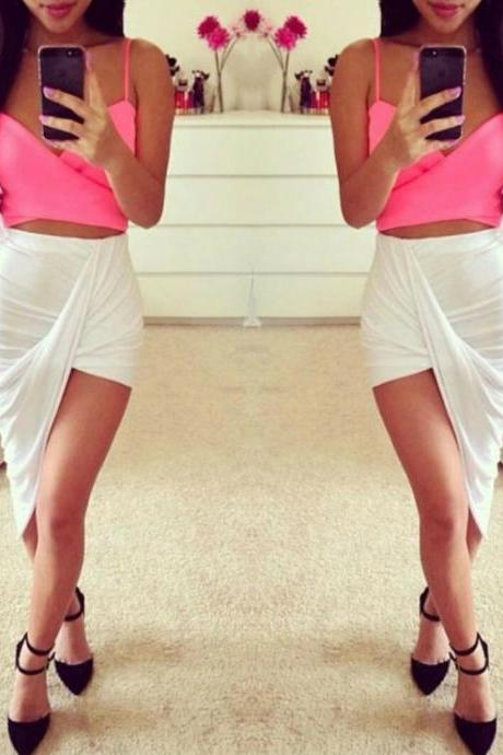 White Irregular Hem Skirt