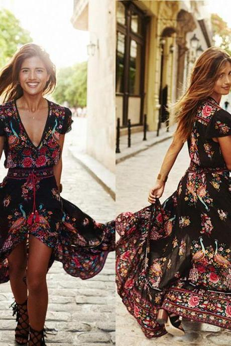 Boho Vintage Design Summer Dress