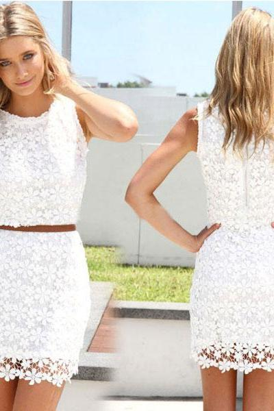 Sleeveless Floral Lace Summer Dress