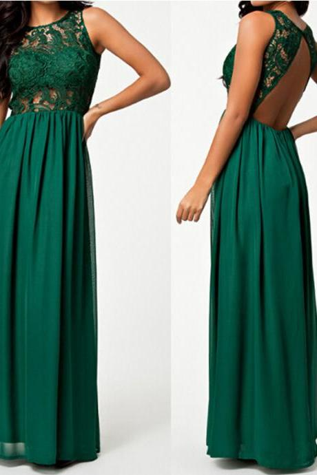 Sexy Green Lace and Chiffon Long Dress