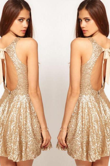 Back Bow Design Gold Sequined Dress