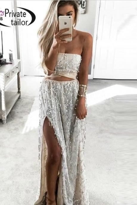 Sexy Sequin Two Piece Top and Skirt Set