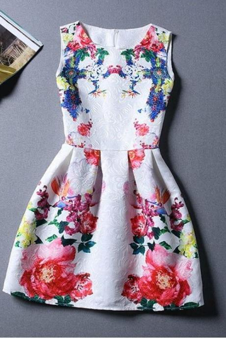 Sleeveless Floral Print Evening Dress