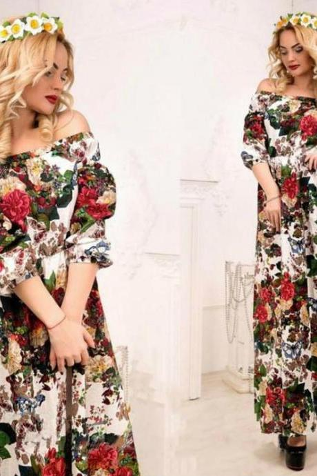 Off Shoulder Floral Summer Maxi Dress