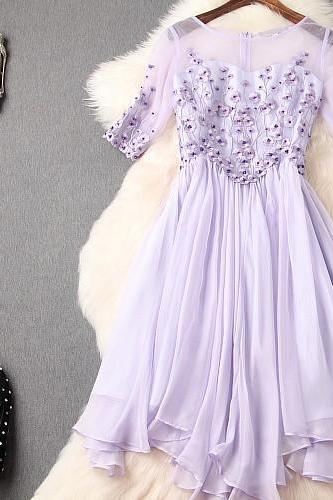 Lavender Beaded Lace and Chiffon Event Dress